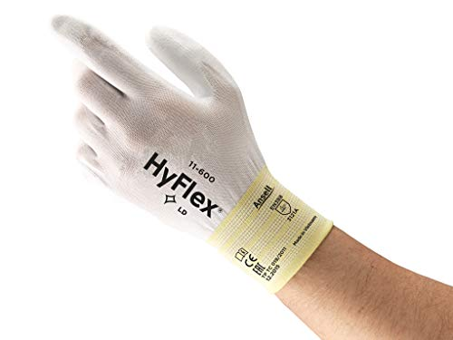 Ansell Hyflex 11-600 Work Gloves for Men and Women, Nylon, Extra-thin for High-Dexterity, Multi-purpose, Mechanics, Automotive, Industrial or Home-improvement field, Black, 12 Pairs
