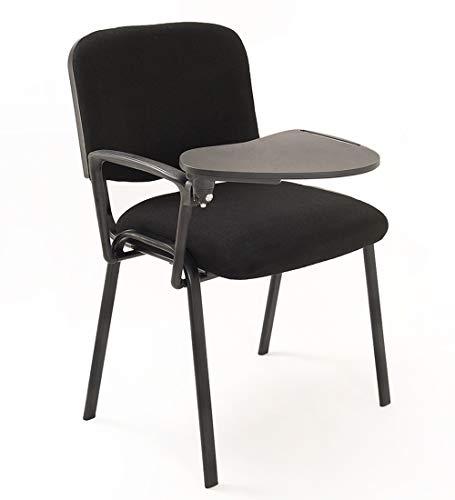 Notek Srl 6 sedie Impilabili in Tessuto con Ribaltina scrittoio tavoletta per Studio Sala conferenza convegni (Nero)
