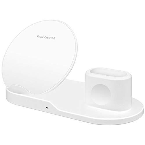 3In1 Cargador inalámbrico Stand QI 15W Estación de Carga rápida para iPhone Compatible con Apple Watch Series Pad Soporte de Carga Docking,Blanco
