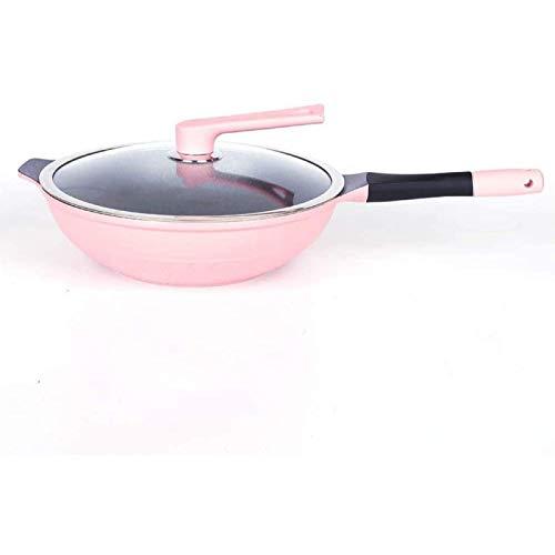 IUYJVR Maifan Stone Wok en Polvo Multifuncional Antiadherente para el hogar Olla de Humo Baja Utilizada para Cocina de inducción Cocina de Gas