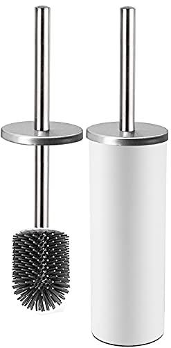 Bingobang Toilettenbürste,Silikon WC-Bürste und Behälter,Edelstahl rostfrei Deckelgriff,Toilettenbürsten für Badezimmer mit schnell trocknendem Haltersatz (Weiß)