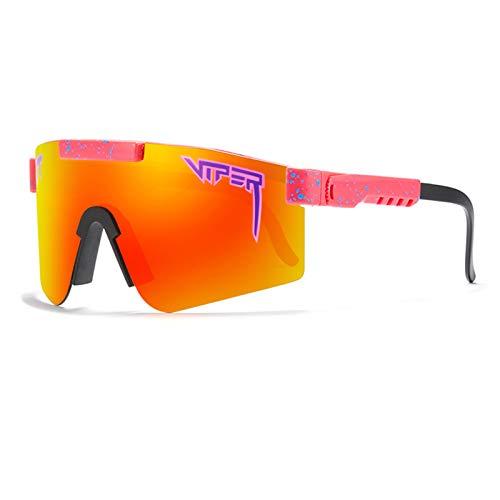 Qianghua Gafas de Sol Deportivas polarizadas, Gafas de protección UV 400 con Personalidad a la Moda y Coloridas, Marco Grande, para Deportes al Aire Libre Ciclismo Correr Escalada Pesca,A24