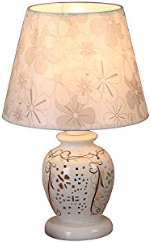 J.SUNUN Tischlampe, Tischlampe Schlafzimmer Nachttisch Moderne minimalistische Mode Leuchte Keramik Hohl Farbe   Light Gelb Cover (Remote Control)