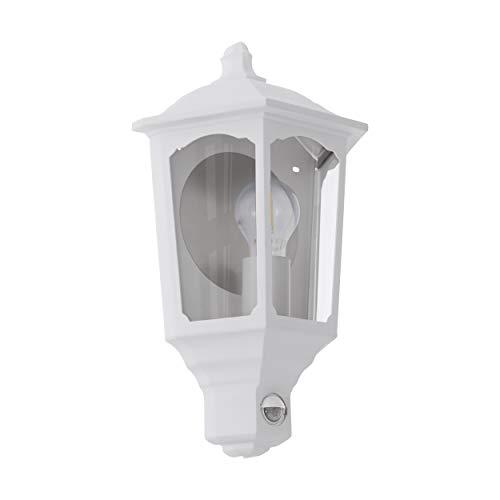 EGLO Außen-Wandlampe Manerbio, 1 flammige Außenleuchte inkl. Bewegungsmelder, Sensor-Wandleuchte aus Aluguss und Glas, Farbe: Weiß, Fassung: E27, IP44