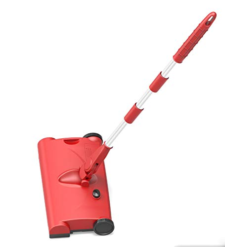 P.CHUXIN Barredora De Empuje con Mango De Remolque Eléctrico, Barredora Giratoria Inteligente Inalámbrica De Carga Doméstica (Rojo)