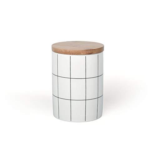 Cages Tarro de Almacenamiento de cerámica Sellado a Cuadros Redondo para Especias, té, café, Tanque, Recipiente para Alimentos, Botella con Tapa para Organizador de Cocina (Size : Small)