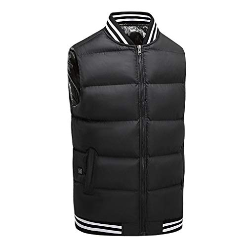 Men's Stand-up Collar Heating Cotton Vest, Graphene Electric Heating Vest, Usb Safe and Intelligent Constant Temperature Heating Suit, Suitable for Outdoor Camping and Hiking (battery Not Included)