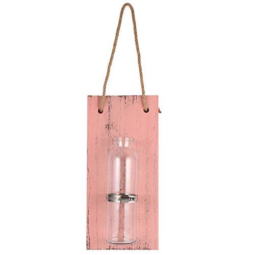 CLISPEED Terrarienpflanzen Kleiderbügel Vase DIY Einmachglas Wandlampen mit Holzplatte Vintage Wohnkultur Innendekoration für Office Home Pink