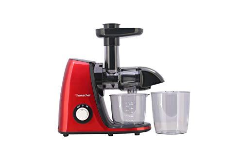 AMZCHEF Licuadora Prensado en Frio, Licuadoras para Verduras y Frutas,Extractor de zumos con Función inversa,Sin BPA,Motor Silencioso,fácil de Limpiar con un Cepillo,Exprime más Jugo