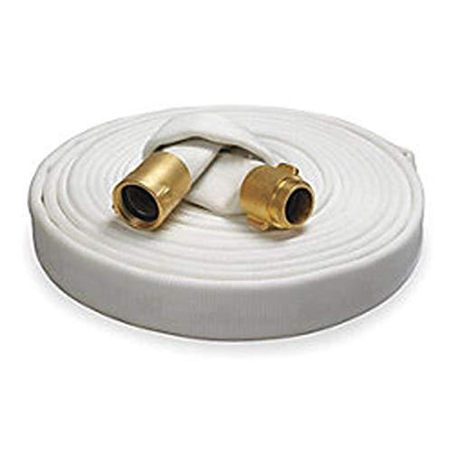 Key Fire Rack & Reel Fire Hose, White, 1-1/2' ID, 50 feet, 500 PSI Burst Pressure, M x F NST Brass Connectors
