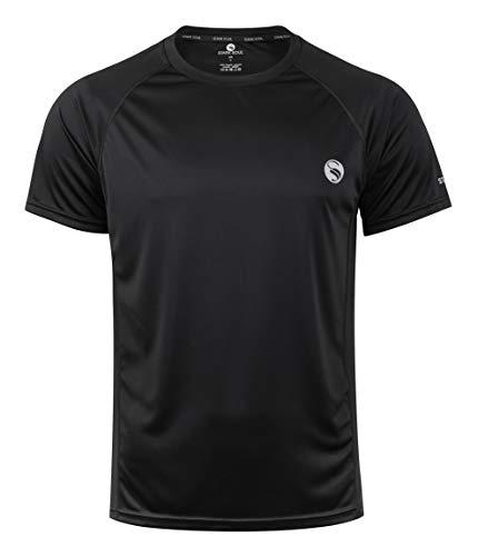 Herren Sport Shirt Fitness T-Shirt Reflect, Kurzarm Funktionsshirt, Atmungsaktiv Schnelltrocknendes Trainingsshirt - Schwarz - L