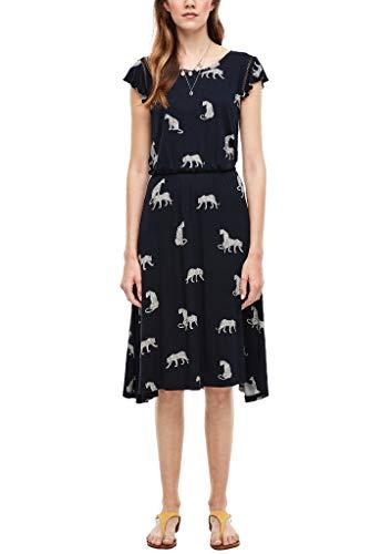 s.Oliver RED Label Damen Jerseykleid mit Allover-Print Dark Blue AOP Leopards 46