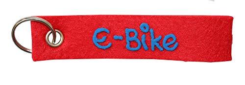 Schlüsselanhänger rot aus Filz Spruch e-Bike personalisiert - Geschenk mit Wunschbeschriftung - Filzband mit Name