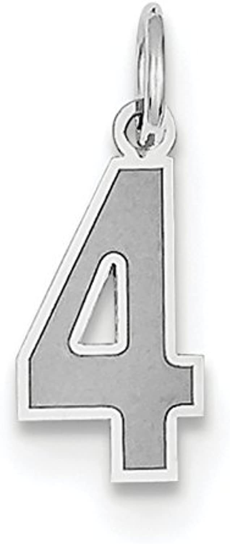 Diamond2Deal 14k White gold Small Satin Number 4 Pendant