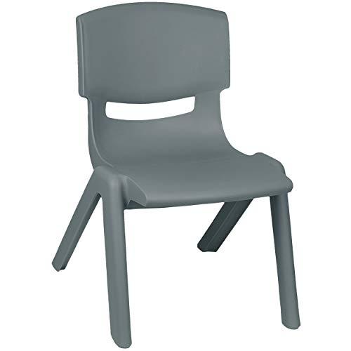 alles-meine.de GmbH Kinderstuhl - dunkel GRAU / anthrazit - bis 100 kg belastbar / stapelbar / kippsicher - für INNEN & AUßEN - Plastik / Kunststoff - Kindermöbel für Mädchen & J..