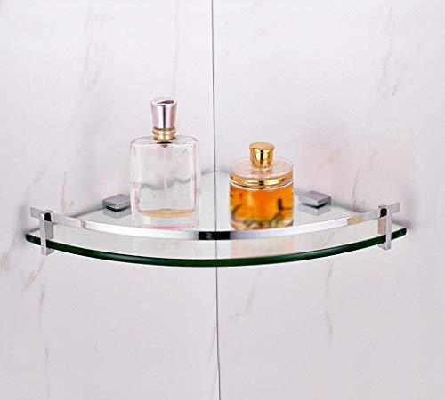 Glazen hoekplank, met roestvrij stalen draadtenhaak en 1/2/3 dier gehard glas 8 mm dik badkamerrek wandhouder (grootte: 25 * 25 * 40 cm) 25**25*4.3CM