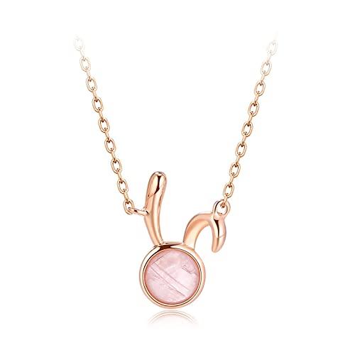 HYK Collana in argento Sterling 925 con ciondolo a forma di coniglio, alla moda, con cristalli rosa, idea regalo per donne di Natale, oro