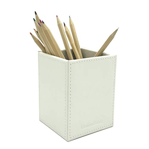 UnionBasic PU Leather Square Pens Pencils Cup Holder Desk Stationery Organizer (White)