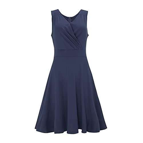 Lalaluka A-Linie Kleid Damen Kleider KnielangElegant Einfarbig Korsett V-Ausschnitt Bodycon Kleid Strickkleid Spitzenkleid Abendkleid A-Liniekleid