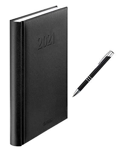Herlitz Buchkalender 2021 + Metallkugelschreiber / A5 / Farbe: schwarz