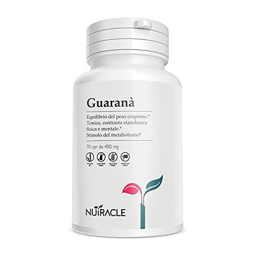 NUTRACLE GUARANA' 70 compresse da 400 mg   Energizzante e stimolante   Stimola il metabolismo, Equilibrio del Peso Corporeo   Boost di attenzione e vitalità