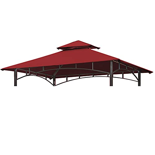 CoastShade 5'x8' TOP Only Grill BBQ Gazebo Roof Top Double Tiered Replacement Canopy Roof Outdoor Barbecue Gazebo Tent Roof Top,Burgundy