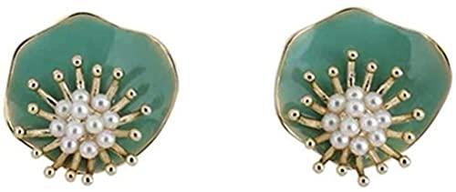 OUHUI Pendientes de Mujer de Flor de Perla Verde Dulce Pendientes de Botón Fresco de Estilo Vintage Saaje Pendientes Hechos a Mano Joyería de Oreja para Niñas Exquisito/Green
