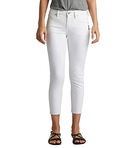 Silver Jeans Co. Damen Avery Curvy-fit High Rise Skinny Crop Jeans, Weißer, roher Saum, 31W x 27L