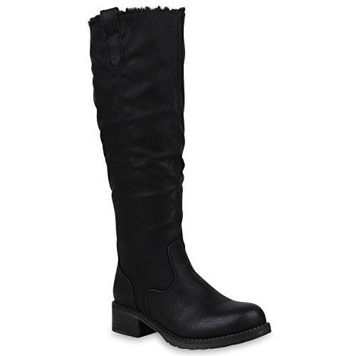 Klassische Damen Schuhe Stiefel Warm Gefütterte Winterstiefel Leder-Optik 153260 Schwarz Agueda 40 Flandell