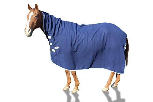 Derby Originals Pferd Fleece-Abschwitzdecke mit Halsteil, navy