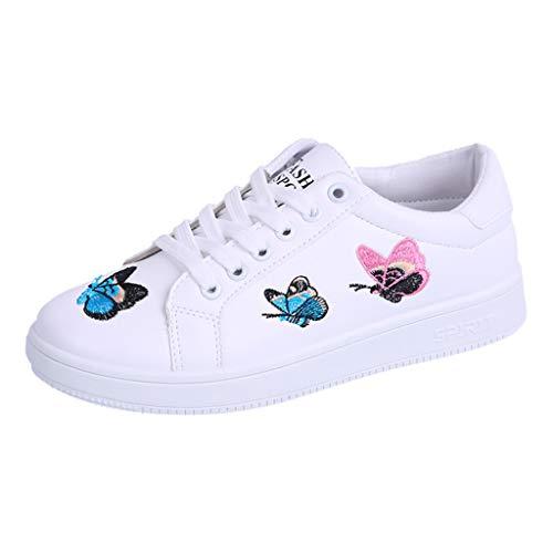 MRULIC Mädchen und Damen Flache Schuhe Schmetterling Gestickte Weiße Schuhe Schnür wasserdichte Schuhe Turnschuhe Sport Laufschuhe(Weiß,36 EU)