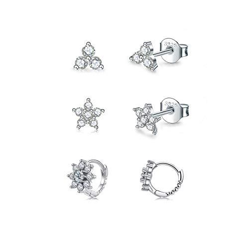 Pendientes de mujer de plata 925, 3 pares de pendientes de aro pequeños (3 mm/3 mm/8 mm), juego de pendientes para mujer, hombre y niña, delicados cartílagos, tragus, hélix, dormir, con circonitas