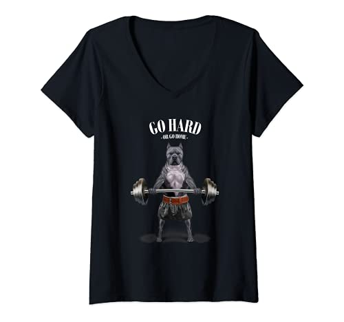 Mujer Levantamiento de pesas de perro pit bull en el gimnasio Camiseta Cuello V