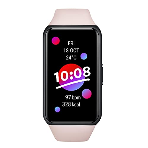 HONOR Band 6 Smartwatch Pantalla Táctil de 1, 47 Pulgadas Reloj Inteligente Impermeable 5ATM con Monitor de Sueño Pulsómetros Podómetro Contador de Caloría para Hombre Mujer Android iOS,  Rosa