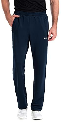 Clothin Men's Sweatpant with Zipper Pockets Elastic Waist Drawstring Pants for Athletic Jogging Running(Blue XL)