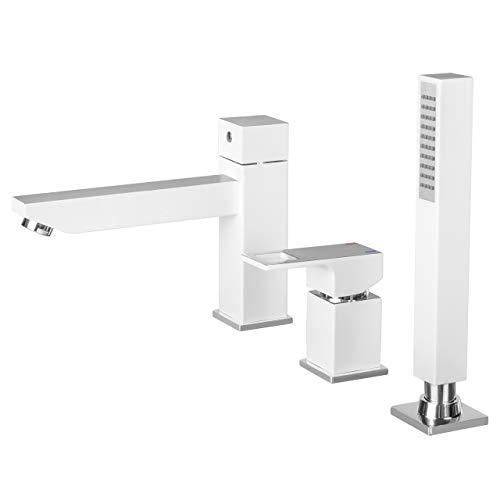 Weiße 3-Loch Wannenarmatur Badarmatur Badewanne Wannenrandarmatur - Modell ANEMONE - Weiß/Chrom