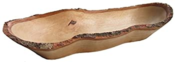 roro Natural Long Tray with Bark Edge Made from Sustainable Wood 17  L