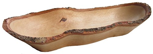 """roro Natural Long Tray with Bark Edge Made from Sustainable Wood, 17"""" L"""