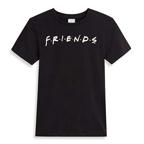 Friends Camisetas Mujer, Camiseta Mujer con Logo Serie, Camiseta Negra Mujer de Manga Corta Algodon 100%, Regalos Originales para Mujer Chicas Adolescentes Talla 36-50 (50)