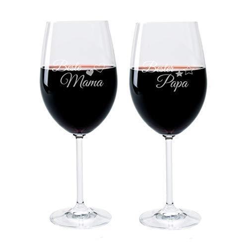 FORYOU24® Weinglas Set mit Gravur Motiv Beste Mama und Bester Papa Wein-Glas graviert