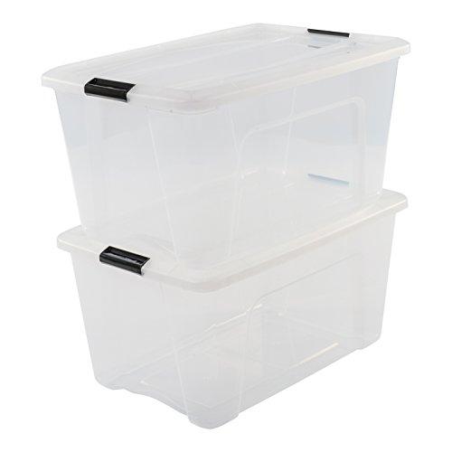 Iris Ohyama, 2er-Set stapelbare Aufbewahrungsboxen mit Klickverschluss - New Top Box NTB-45 - plastik, transparent, 2 x 45 L, L58 x B39,5 x H30,5 cm
