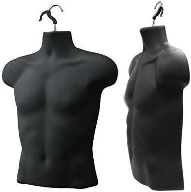 Upper Male Torso Form, Black