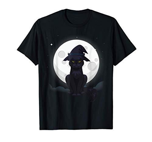 Gato negro disfrazado de sombrero de bruja Camiseta