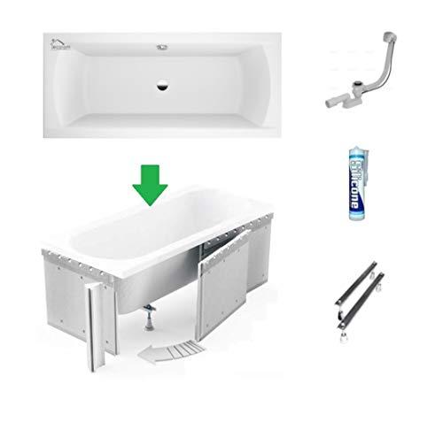 ECOLAM Badewanne Wanne Rechteck Ines Design Acryl weiß 190x90 cm + Styroporverkleidung zum Verfliesen + Ablaufgarnitur Ab- und Überlauf Automatik Füße Silikon Komplett-Set, Rechteckbadewanne für Zwei