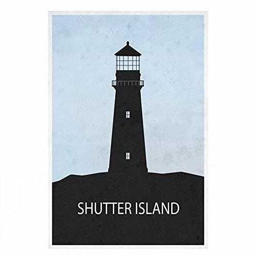 YYAYA.DS Cuadros Decorativos Shutter Island Investigar Leonardo Dicaprio Arte Decoración Arte Película Póster Imprimir 60x90cm