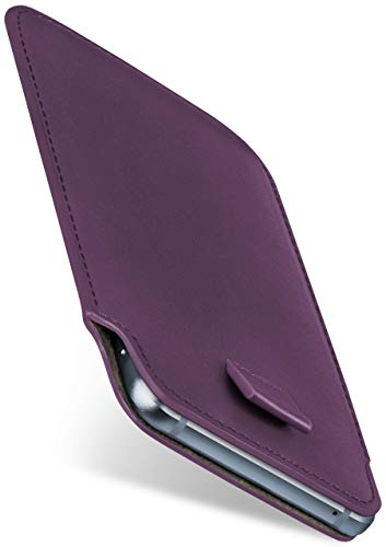 moex Slide Hülle für BlackBerry Z10 - Hülle zum Reinstecken, Etui Handytasche mit Ausziehhilfe, dünne Handyhülle aus edlem PU Leder - Lila