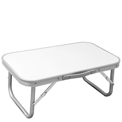 Mini Klapptisch 56x34x24cm mit Tragegriff Aluminium/Kunststoff Silber/Weiß Campingtisch Gartentisch Beistelltisch klappbar