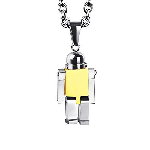 WBBNB Collar Minimalista Cadena de Acero de Titanio Robot Hombres Colgante de Personalidad Collar Exquisito Influencia Enviar Elegante Caja de Regalo para Hombres Mujere