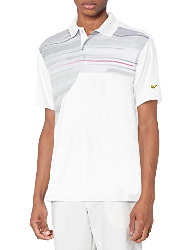 Jack Nicklaus Herren Asymmetrical Printed Short Sleeve Polo Golf-T-Shirt, Bright Wh/Purp Trank, X-Large