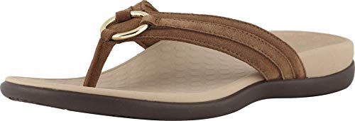Vionic Women's Tide Aloe Toe-Post Sandal - Ladies Flip- Flop with Concealed Orthotic Arch Support Toffee Suede 5 Medium US